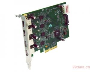 久诚U3X4-PCIE4XE111 PCI Express x4 2.0转4口USB3.0扩展转接卡,支持UASP
