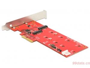 DELOCK 89388 M.2 SATA NGFF SSD转PCIe×4 2.0转接卡