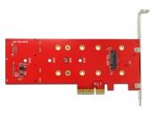 DELOCK 89394 2个SATA+1个PCI-E M.2 NGFF SSD转PCIe×4 3.0转接卡