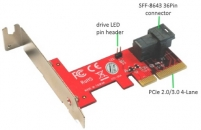 Addonics  ADSF8643PX4 SFF-8643 PCIe 4X转接卡  支持intel/英特尔 750 u.2 SSD固态硬盘