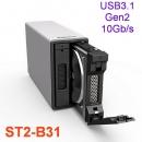 Stardom ST2-B31 USB3.1 Gen2 10Gb/s 磁盘阵列柜