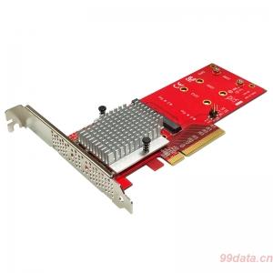 Lycom DT-130双槽2口NVMe M.2 m2 SSD转PCIe×8 3.0转接卡