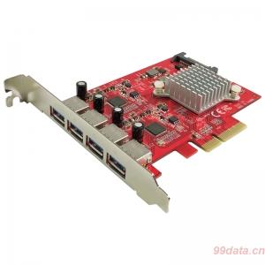 Lycom UB-155 4口10Gb USB3.1 Gen2 Type A PCIe 3.0x4扩展转接卡